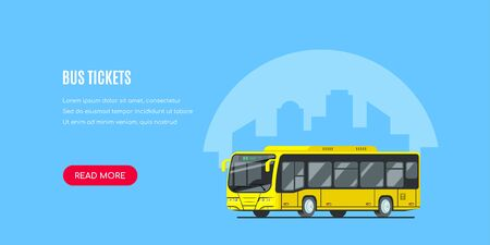 City bus with big city silhouette on background. Bus tickets concept banner design. Flat style vector illustration.
