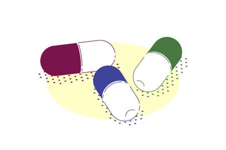 Pills of medical drugs. Healthcare, pharmacy, drug store concept banner. Medication, pharmaceutics concept. Flat style illustration. 向量圖像