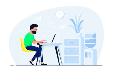 Young man working on laptop at the desk in office. Flat style illustration