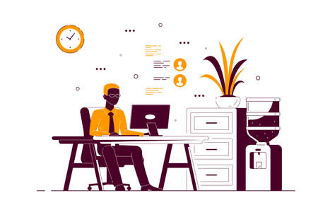 Young black business man working on computer at the desk in office. Flat style line art illustration