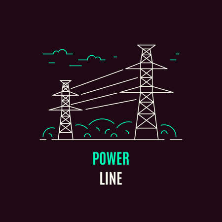 Power supply line, logo or icon design. Flat style line art illustration on dark background.