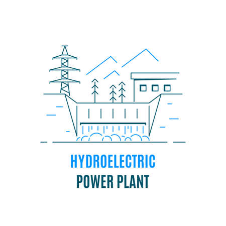 Hydroelectric power plant, logo or icon design. Water energy concept. Flat style line art illustration isolated on white background.
