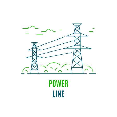 Power supply line, logo or icon design. Flat style line art illustration isolated on white background. Vettoriali