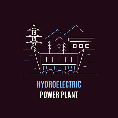 Hydroelectric power plant, logo or icon design. Water energy concept. Flat style line art illustration on dark background.