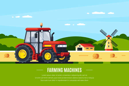Modern tractor in the field, rural landscape. Farming machines. Flat style banner design