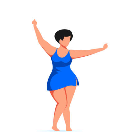 Attractive woman plus size dancing in swimming suit. Body positive, summer beach party concept. Flat style vector illustration isolated on white background