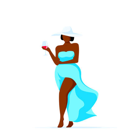 Attractive elegant plus size black african american woman walking glass of wine. Body positivity, self acceptance, summer vacation, travel and tourism concept. Flat style vector illustration isolated on white background