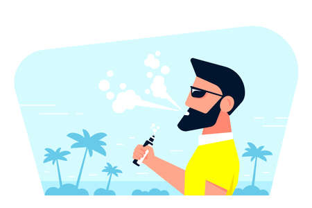 Vaping Activity Concept. Caucasian Male Character Enjoying Vape Smoking Outdoors. Unhealthy Living, Hipster Lifestyle Concept Design Isolated on white background. Flat Style Banner