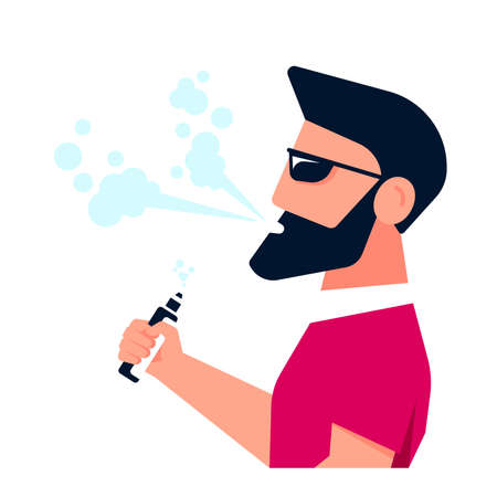 Vaping Activity Concept. Caucasian Male Character Enjoying Vape Smoking Isolated on white background. Unhealthy Living, Hipster Lifestyle Concept Design. Flat Style Banner Ilustração Vetorial