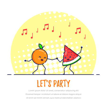 Dancing Funny Fruits Couple, Orange and Watermelon