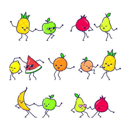 Set of Dancing Funny Fruits Isolated on White Background Illusztráció