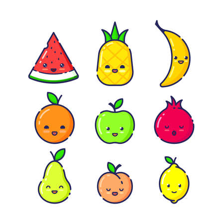 Set of Funny Fruit Characters on White Background