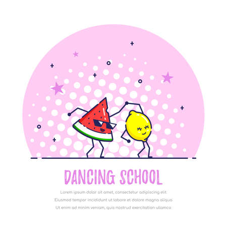 Dancing Funny Fruits Couple, Watermelon and Lemon