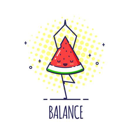 Funny Watermelon Character Doing Yoga, Tree Pose Vrikshasana