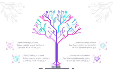 Infographic Template with PCB tree on white background