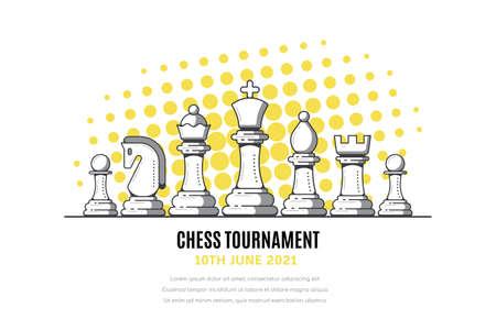 Chess Tournament Banner Template, Outline Vector Illustration Illustration