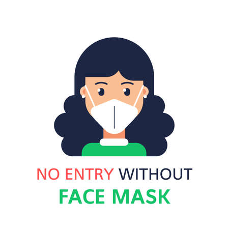 Please Ware A Face Mask, Flat Style Banner Illustration