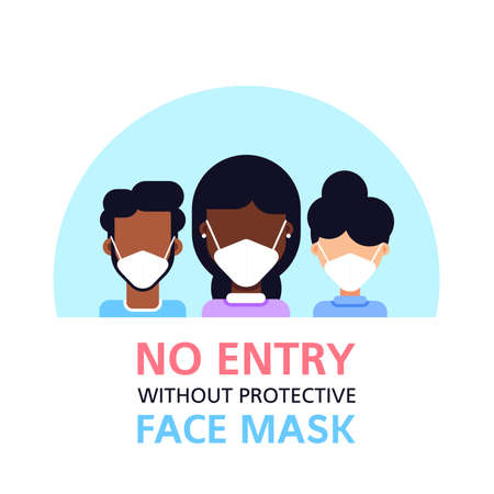 No Entry Without Face Mask, Flat Style Banner Illustration