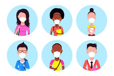 People Wearing Face Mask, Set of Icons Illustration