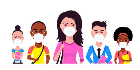 Group of Young People Wearing Face Mask
