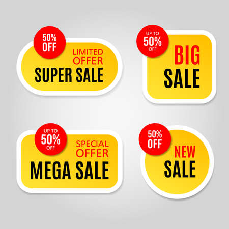 Set of modern sale stickers on gray background Illustration