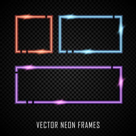 Set of colorful vector neon frames on dark background Illustration