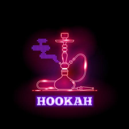 Vector hookah neon signs on black background Illustration