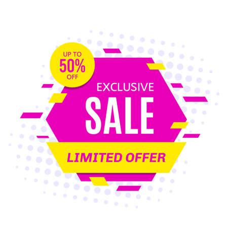 Promotional sale banner template design, vector illustration