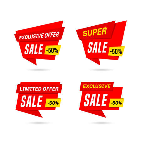 Set of sale banners isolated on white background