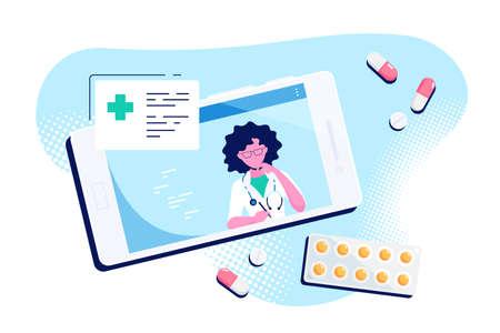 Online medical consultation concept illustration on white background
