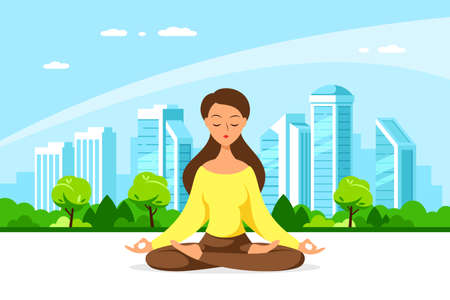 Young Woman in Lotus Pose Pratices Meditation