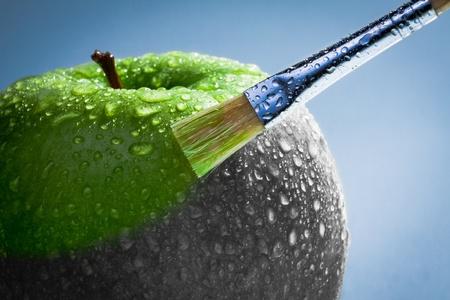 Groene appel als kunst concept