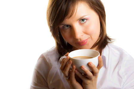 woman with cup of coffee with wilk