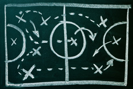 planning diagram: Soccer formation tactics on a blackboard Stock Photo