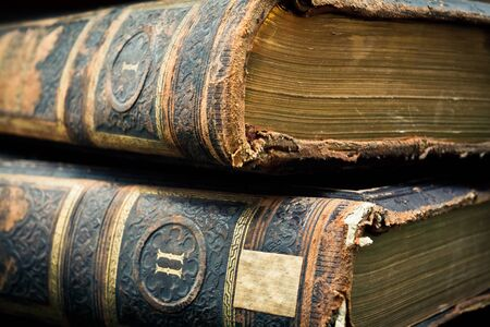 volumes: Two volumes antique leather bound books Stock Photo