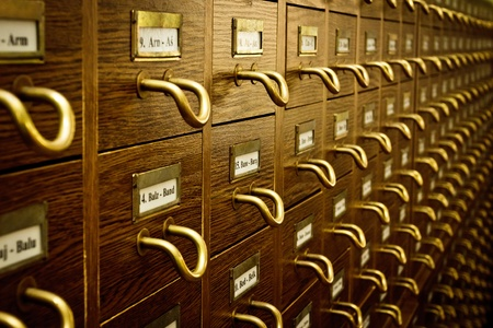 card file: Old Vintage Library Card Catalog