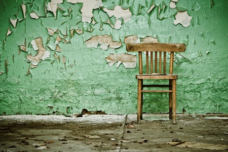Wooden Chair in Abandoned Building Stock Photo - 10034670