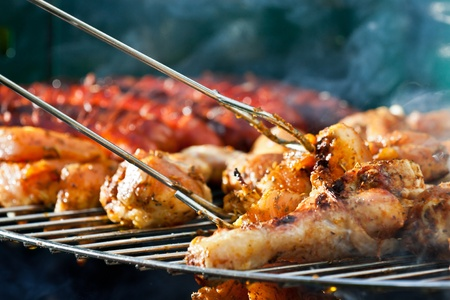 upperdeck view: close-up barbecue Chicken at summer