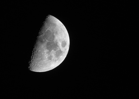 moon crater: Looking at Half Moon at night