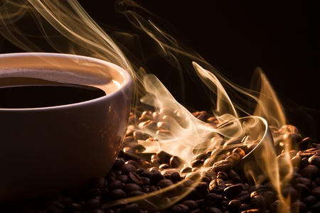 hot coffee: Golden fragrance fly away from roasted coffee