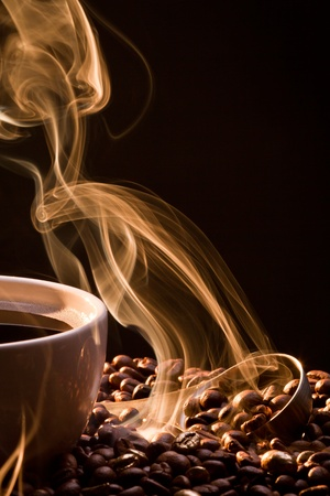 Dry coffee with golden smoke photo