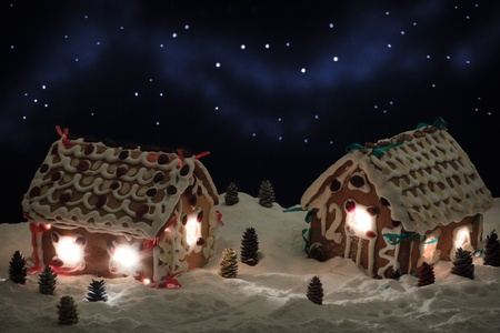 Christmas eve in the gingerbread village photo