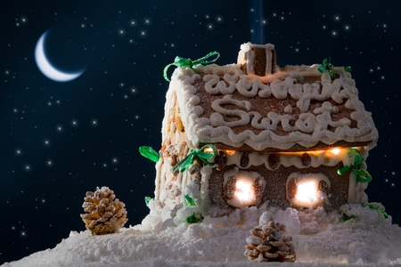 Gingerbread home at the night in winter photo