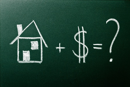 hypothec: Concept of home buying on green blackboard