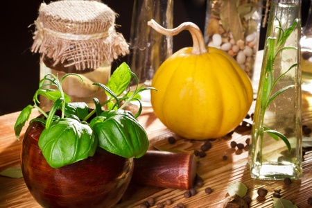 Vegetables, herbs and fresh spices on wooden shelf photo