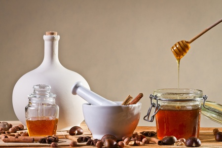 Different kinds of nuts and honey photo