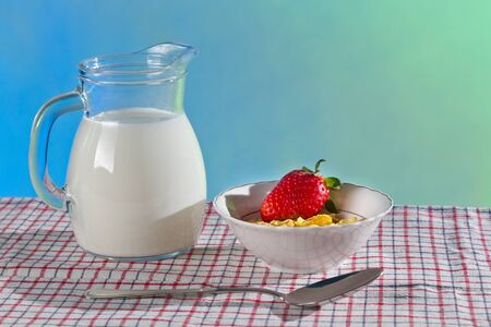 cornflakes: Healthy breakfast with wilk and cornflakes