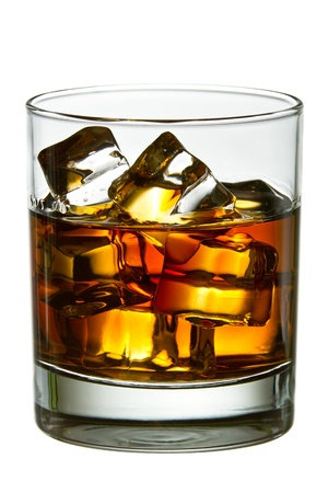icecube: Whiskey with ice cubes in glass