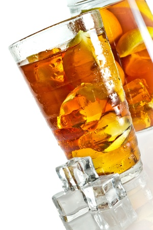 Ice tea in glass with cubes Stock Photo - 12197642