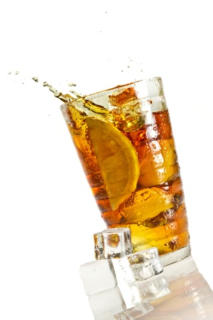 Ice tea with splash with cube